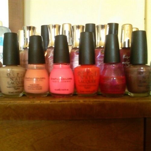 Day two: Colour Front row (Left to right): Figi Weejee Fawn, Orange Cream, 24/7, Cajun Shrimp, Forget Now, Route Beer Float Middle Row: Pink-A-Boo, Pink Promise, Love Bug, Must-Have Iriss, Beautiful Berry Back Row: Innocent Nude, Squashum Blossom, Precious Pearl, Moonlight Androus, Velvet, Loyal Lavender Sallyhansen SinfulColors OPI CreativeNailDesign NailSavy NailPolish