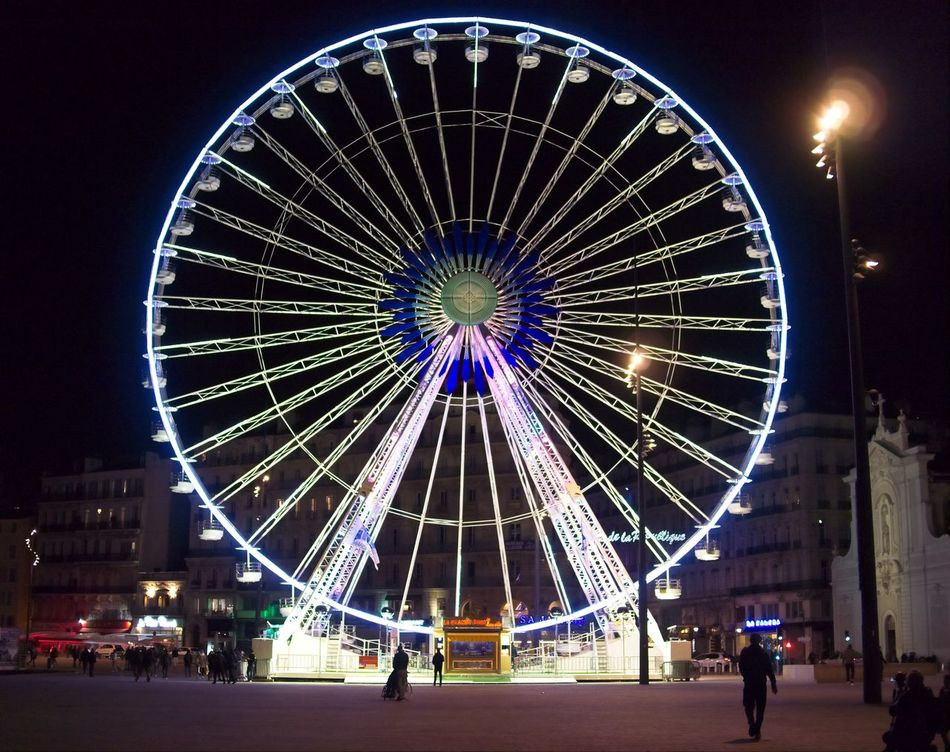 Circle Ferris Wheel At Night Geometric Shape Marseille Night Lights Vieux Port