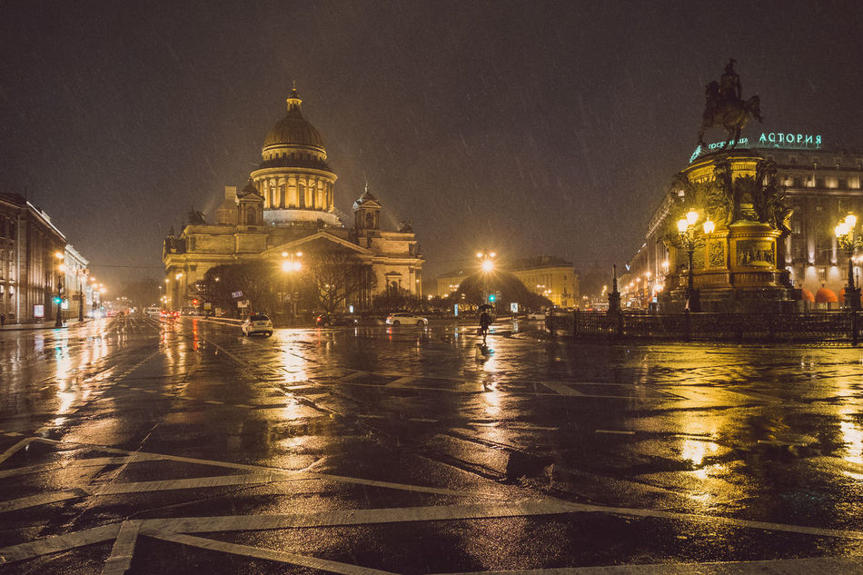 Saint Isaac's Cathedral. Saint Petersburg. Russia. Architecture Building Exterior City Cityscape Fujifilm Fujifilm X-e1 Fujifilm_xseries Fujifilmru Gold Colored Illuminated Night Night Lights Night Photography Nightphotography Outdoors Place Of Worship Russia Saint Isaac's Cathedral Saint Petersburg Sky Travel Destinations