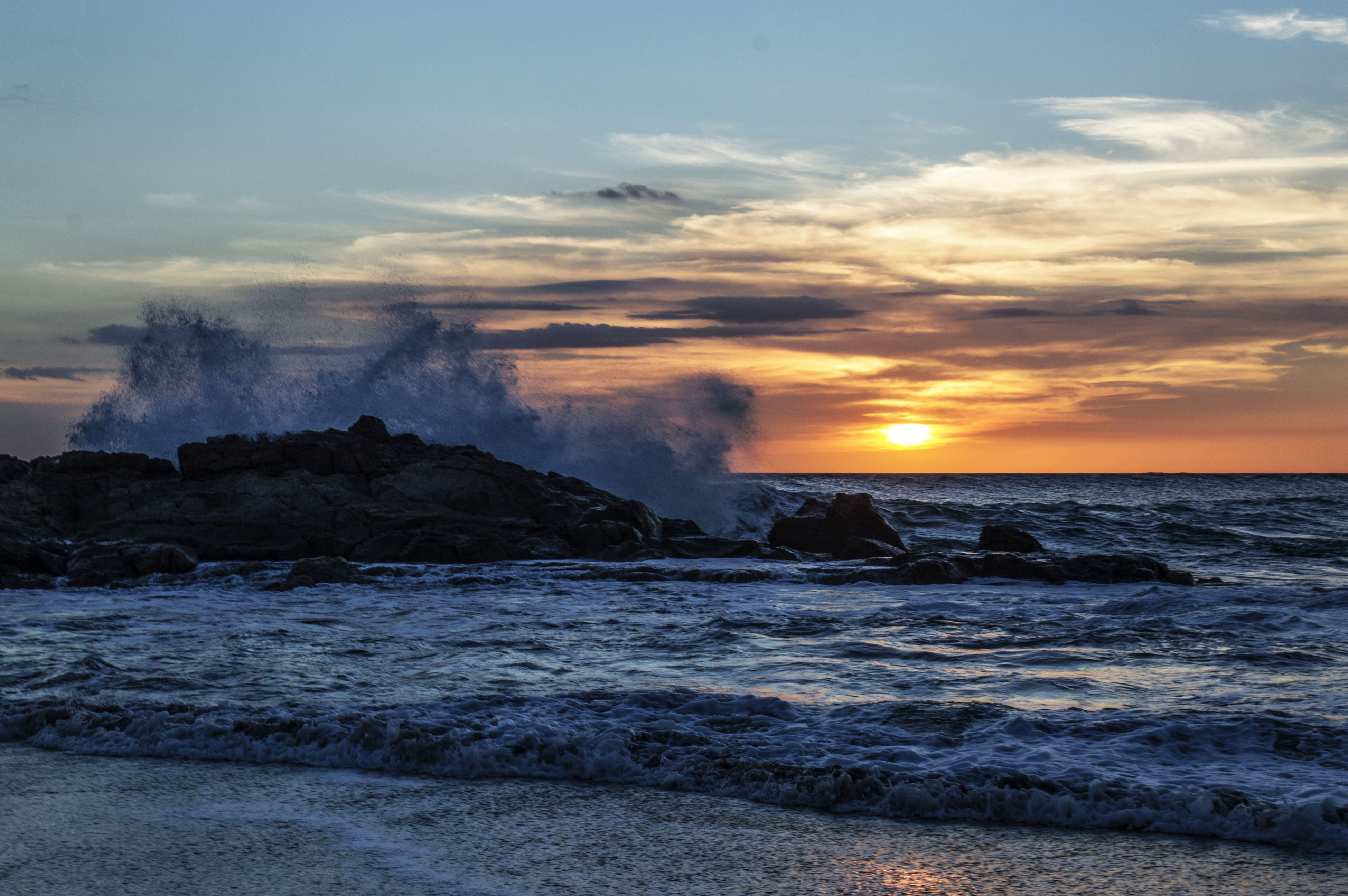 sunset, nature, sea, water, sky, beauty in nature, no people, cloud - sky, splashing, outdoors, scenics, wave, power in nature, tree, motion, crashing, day