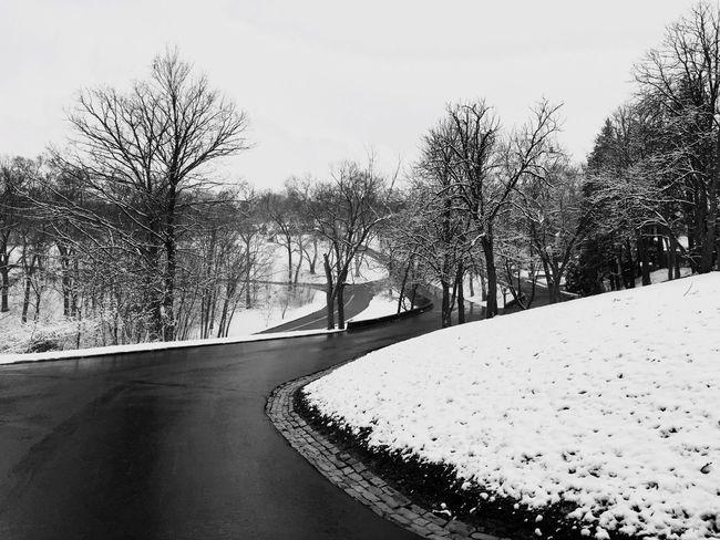 Black & White Blackandwhite Snow Road Empty Road