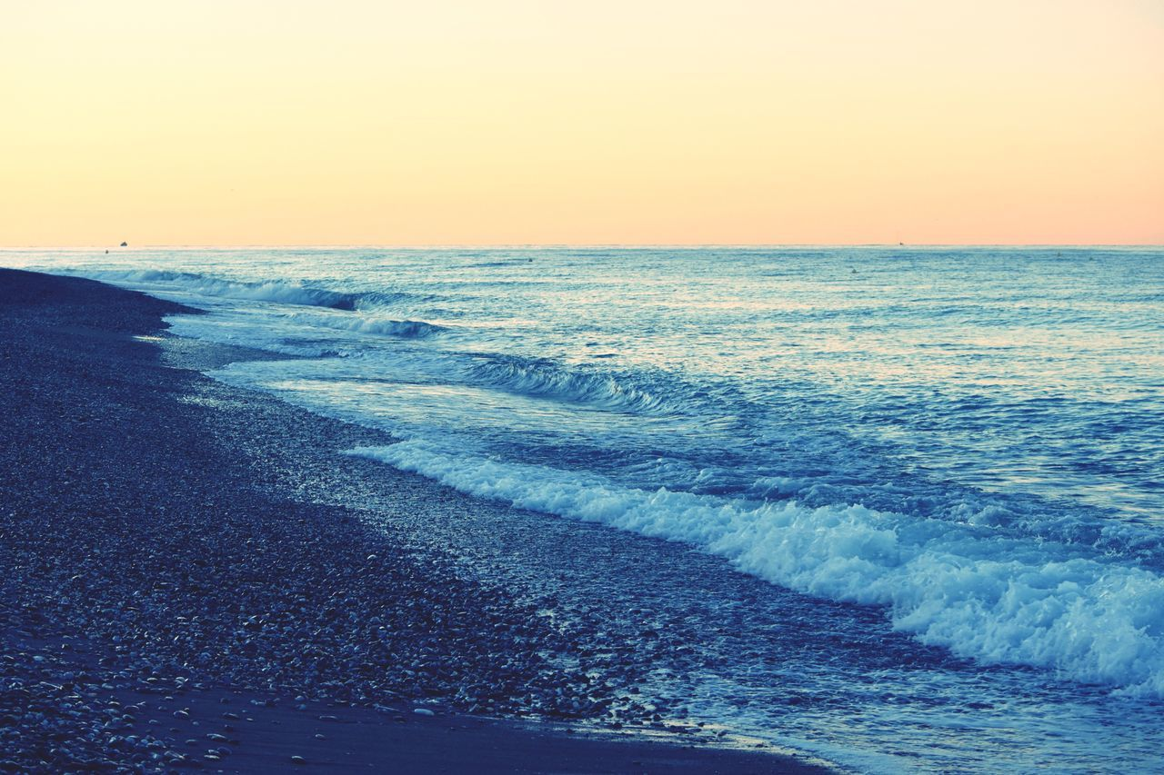 Beach Seaside Horizon Over Water Respect For The Good Taste Let's Do It Chic! Eye4photography  Sea Wave Water Beauty In Nature Nature Scenics Sunset Tranquil Scene Sky Clear Sky No People Tranquility Outdoors Motion Day Eye4photography  EyeEm Best Shots Vacations Exceptional Photographs