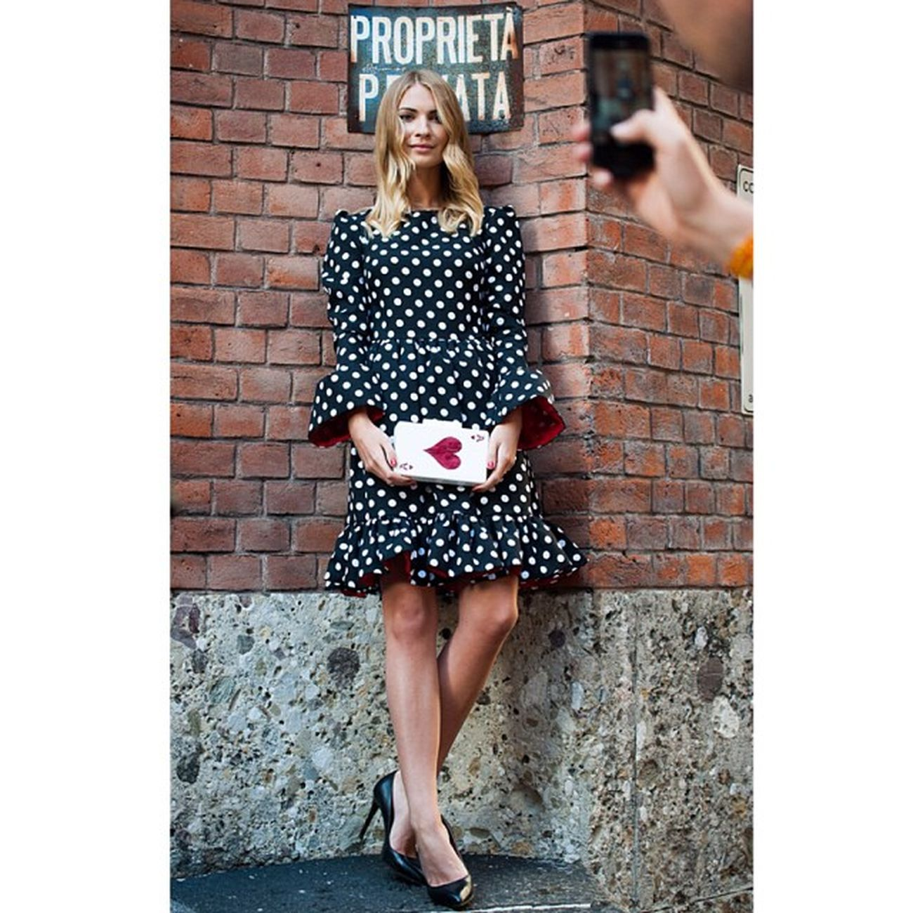 @kyklamasha is a doll ? wearing a polka dot dress matched with her Queen of Hearts for the Milan Fashion Week SS2014!! Thank you Maria!!! ??❤️?? Kyklamasha Uraniagazelli Ss14 Mfw queenofhearts