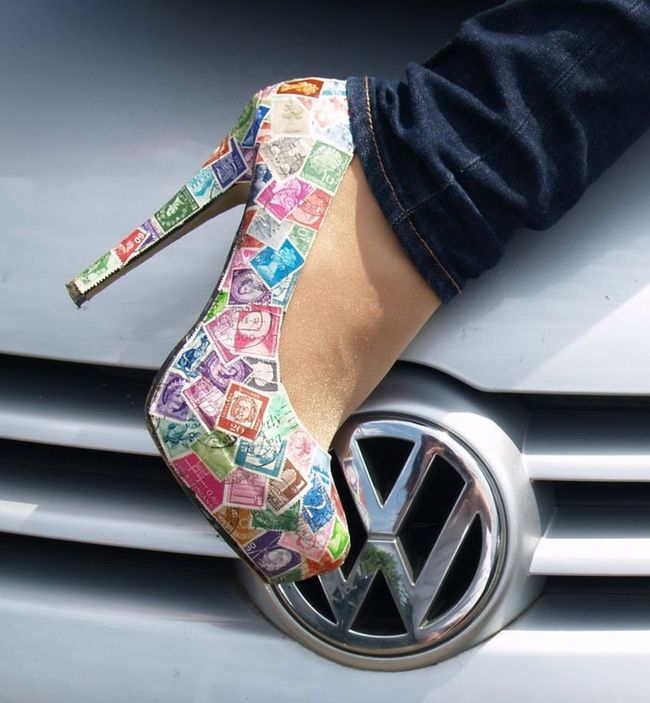 Schuhe mit Briefmarken DIY Diy Project Basteln Schuhe  Crafts Crafting