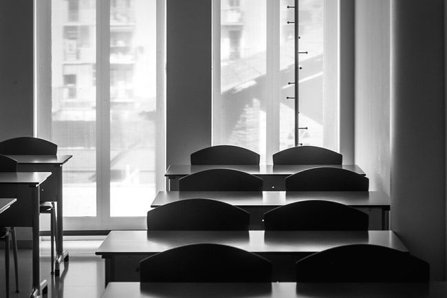 Open Edit Light And Shadow Classroom Chairs Tables Blackandwhite Monochrome Monochrome_life Composition