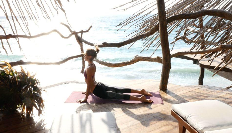 Yoga in Tulum Luxury Getting Away From It All Vacations Relaxation Tourist Resort Travel Beach Yoga Sea Tulum , Rivera Maya. Mexico Retreat