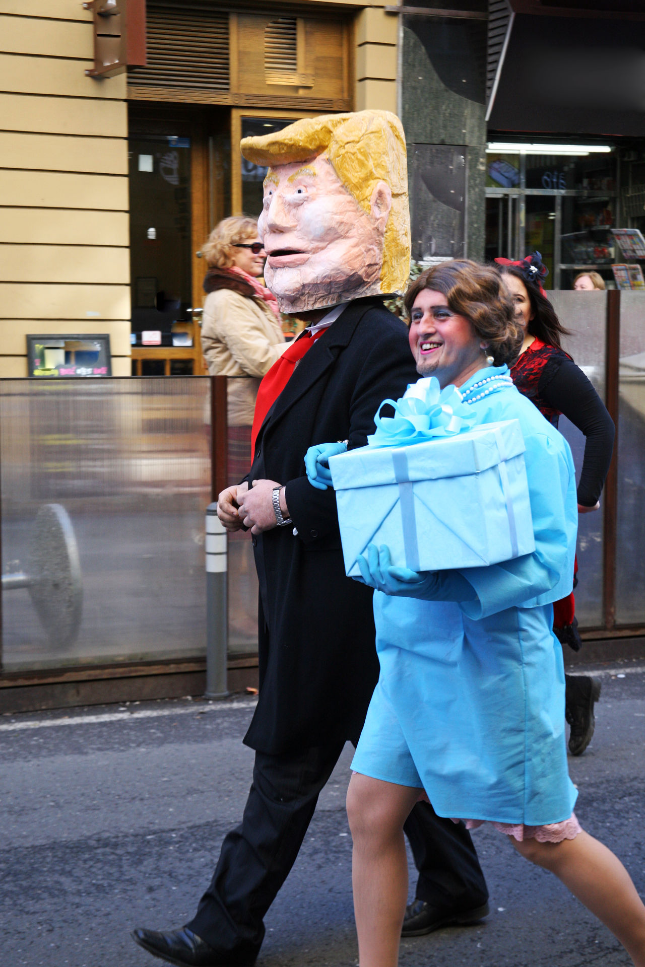 Carnival in Zagreb,Croatia,Europe,9 2017. Carnival Celebrities Cheerful City Street Colourful Costumes Craftsmanship  Eu Europe Fair Fancy February Funny Masks Melania People Picturesque President Show Smiling Togetherness Trump USA Zagreb, Croatia