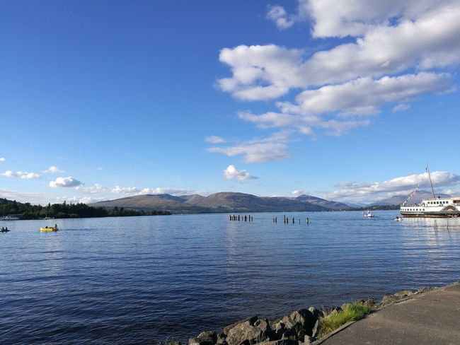 View from Lomond Shores. Maid of the Loch in the background. LochLomond Scotland Lake Boats