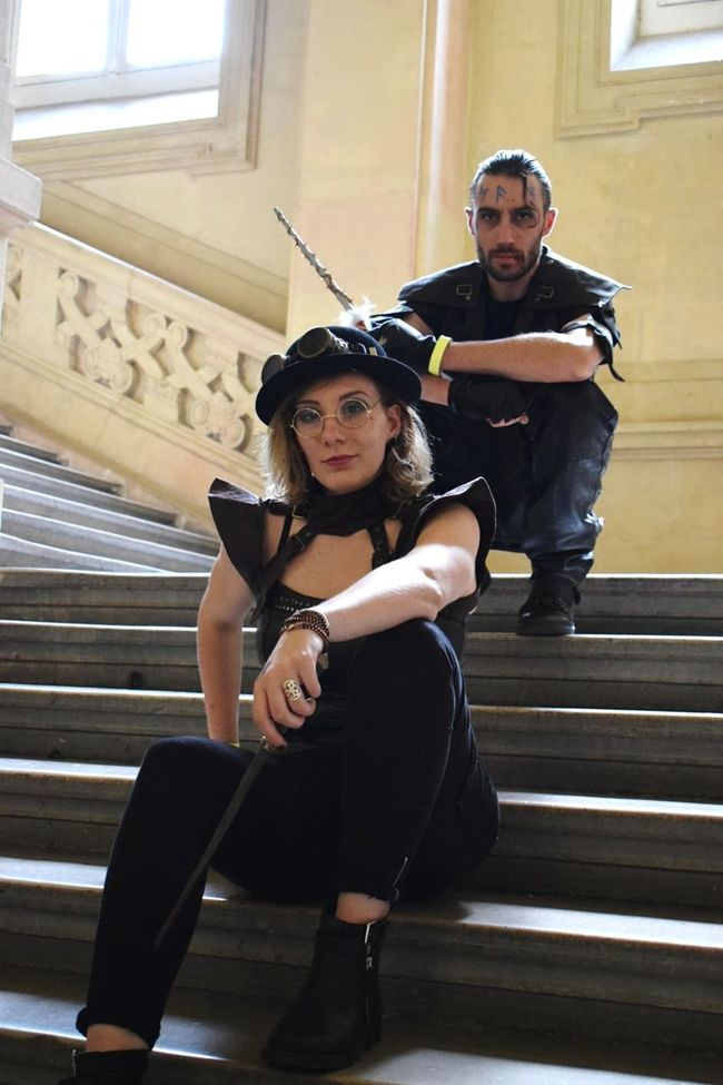 Two People Looking At Camera Steps Portrait Indoors  Cosplay Photography Cosplayphotography Cosplay Rencontres Ludiques Palais De La Bourse Lyon Steampunk France Magician Sorcerer Harry Potter ⚡ Harrypotter Evenement Game Steampunk Photography Steampunk Girl Steampunkart Steampunk Style Steampunkboy