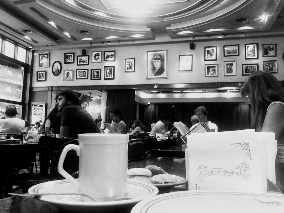Buenos Aires Argentina Indoors  Tourism Cafe Cafe De Los Angelitos Tango Bares Notables Cafetin Historia Cultura Tango Life Gardel Black And White