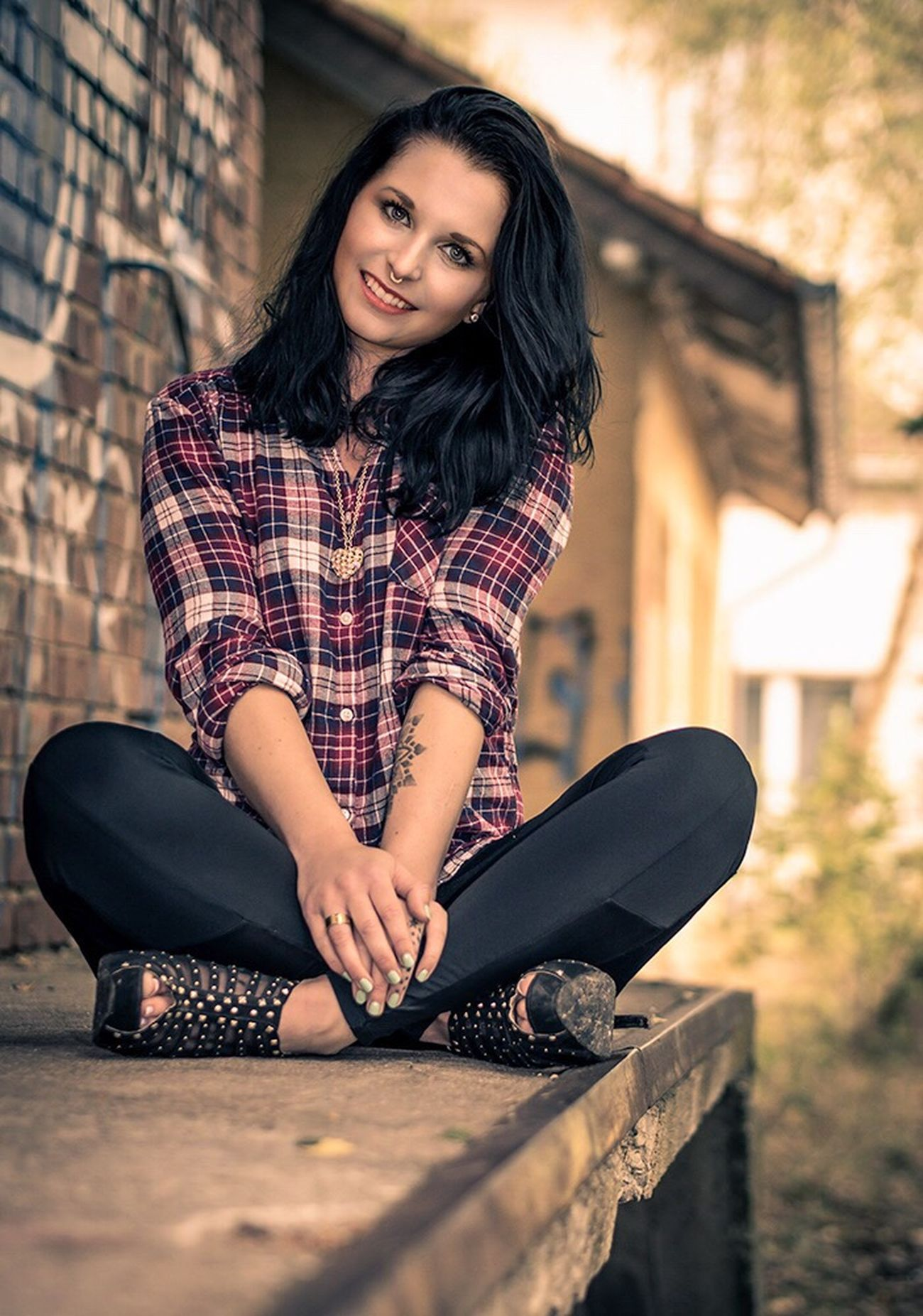 Sitting Vertical Adult Females Person Young Adult Fashion One Person One Woman Only People Only Women City Human Body Part Young Women Portrait One Young Woman Only Outdoors Day