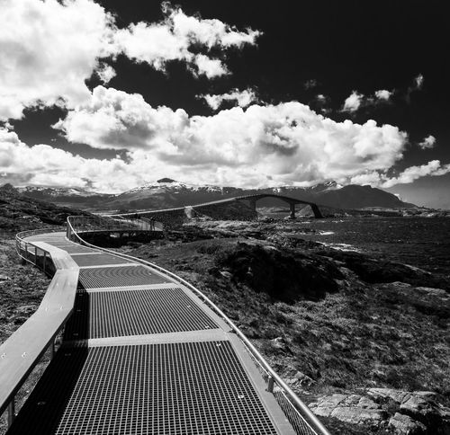 The famous bridge on the Atlantic Ocean Road in Norway Architecture Architecture_bw Atlantic Ocean Road Black & White Black And White Black And White Photography Blackandwhite Blackandwhite Photography Blackandwhitephotography Bridge Landscapes With WhiteWall Bw Curves Famous Place Landmark Landscape Leading Lines Lines Road Roadtrip The Architect - 2016 EyeEm Awards The Great Outdoors With Adobe Sun_collection, Sky_collection, Cloudporn, Skyporn Travel Traveling