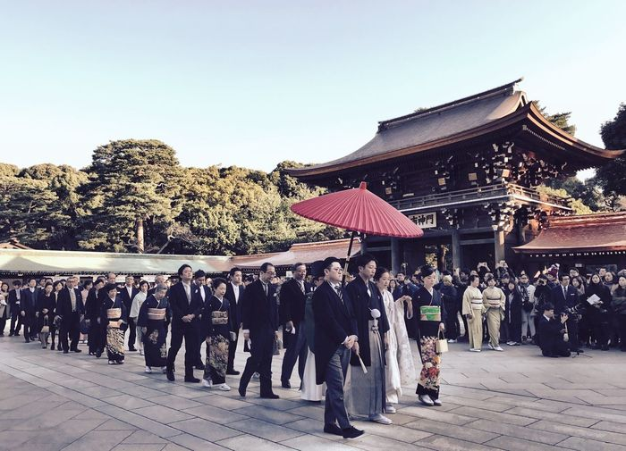 Large Group Of People Real People Men Building Exterior Outdoors Tree Leisure Activity Built Structure Day Clear Sky Women Architecture People Adult Wedding Wedding Photography Weddings Around The World EyeEmJapan Japan Photography IPhoneography Tokyo Shotoniphone7 Shrine Of Japan Togetherness Shrine