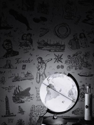 World Travels Indoors  Design Art Wallpaper Hotel Room Music Day Close-up