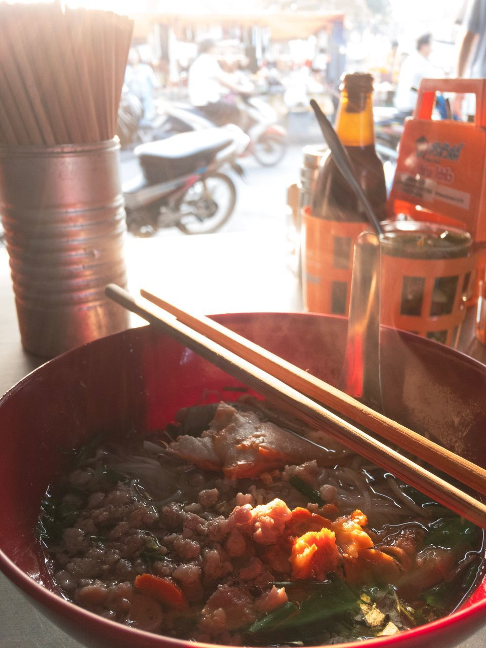 food and drink, food, bowl, chopsticks, freshness, indoors, plate, ready-to-eat, meat, healthy eating, soup, chinese food, no people, day, close-up, dumpling