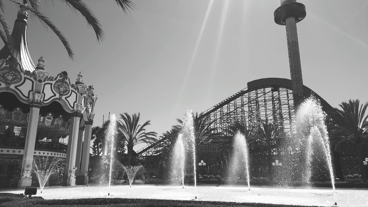 palm tree, spraying, tree, outdoors, no people, built structure, water, low angle view, sky, day, nature, carousel