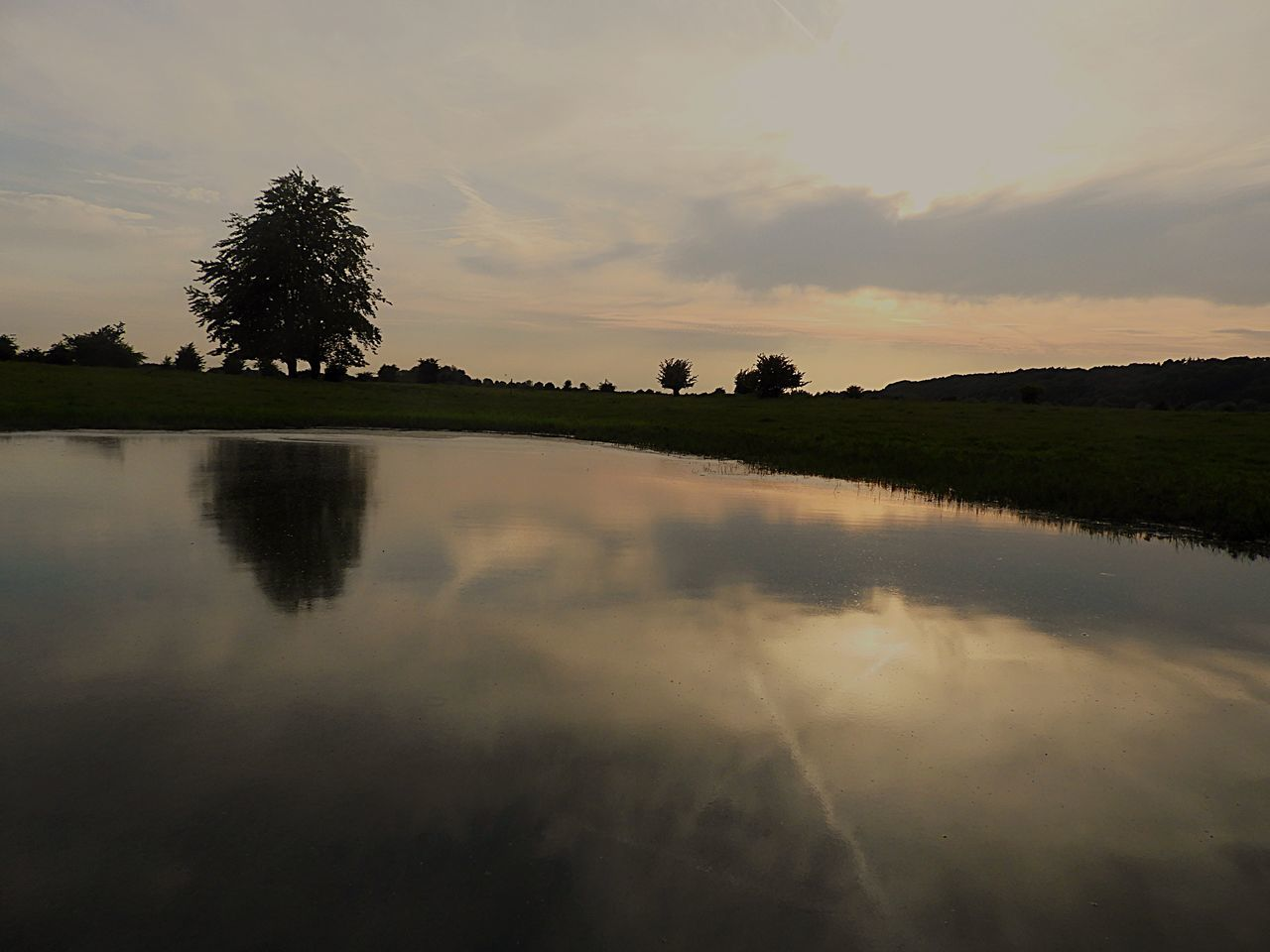 reflection, tree, sunset, sky, nature, tranquil scene, tranquility, beauty in nature, water, cloud - sky, scenics, outdoors, no people, lake, silhouette, day