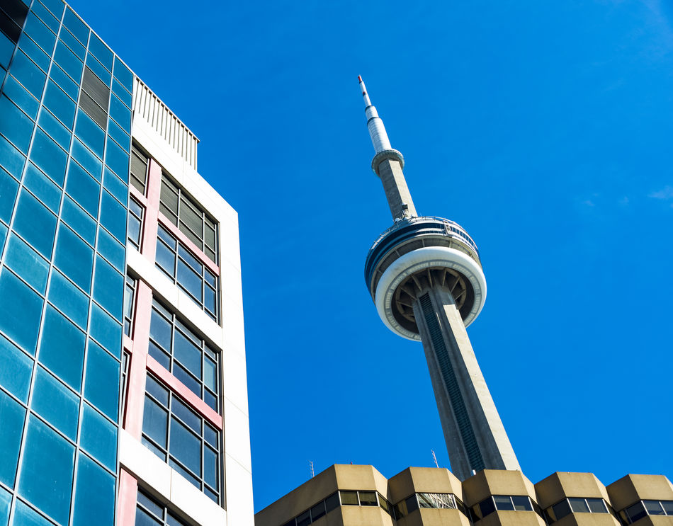 CN Tower or Canadian National Tower: insider angle or pov. The landmark is a major tourist attraction in the Canadian city Angles Blue Canada Canadian National Tower CN Tower Day Diverse An Downtown Entertainment District Famous Free Standing High Up Landmark Ontario Outdoors Photography Sky Structure Symbol Tall - High Tallest Toronto Tourist Attraction  Travel Urban