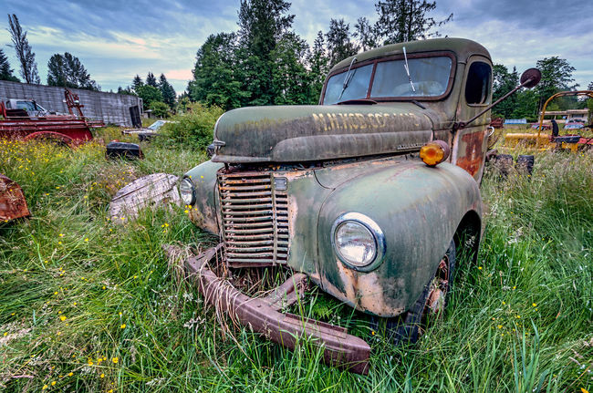 Old Truck Abandoned Bad Condition Car Cloud Damaged Day Deterioration Discarded Field Front View Green Color Growth Land Vehicle Mode Of Transport Obsolete Old Old-fashioned Outdoors Plant Sky Stationary The Past Transportation Weathered