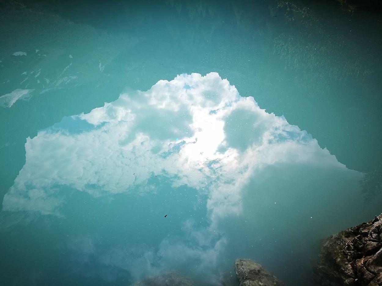 Lake Blue Water Sorapis Lake Reflections Mountain Clouds Sky Water Nature