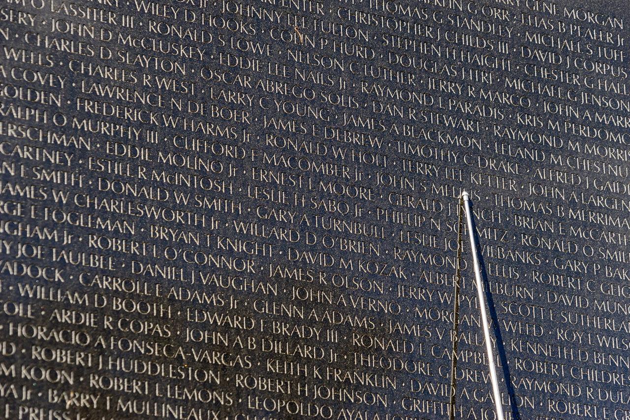 America Capital Cities  D.C. Day Fallen Hand Memorial Names Reflections Sightseeing Soldier USA Vietnam Vietnam War Memorial Wall War Washinton
