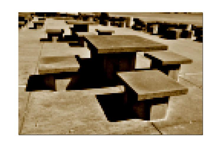 Shoreline Seating @ Middle Harbor 3 Port Of Oakland, Ca. Middle Harbor Shoreline Park Abstract Geometric Square Tables Rectangular Seats Effects Mosaic Pixelation Shadows Sepia Monotone Concrete Slabs Monochrome Monochrome Photograhy