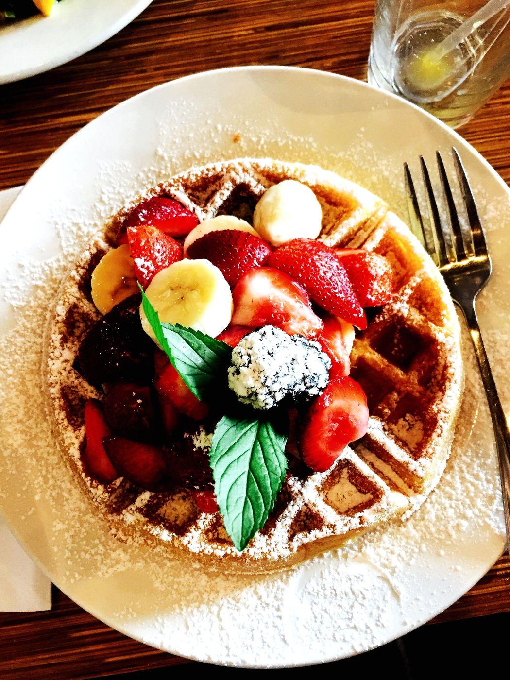 Waffle Breakfast Belgium Fruit Foodporn Chrome Food Sugar French Breakfast