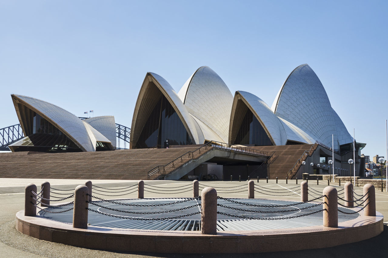 The Opera House Absence Architecture Blue Building Building Exterior Built Structure Chair City Clear Sky Copy Space Day Modern Moored Nautical Vessel No People Opera House Outdoors Railing Sky Sunlight Sydney Harbour Bridge Sydney Opera House Water Travel