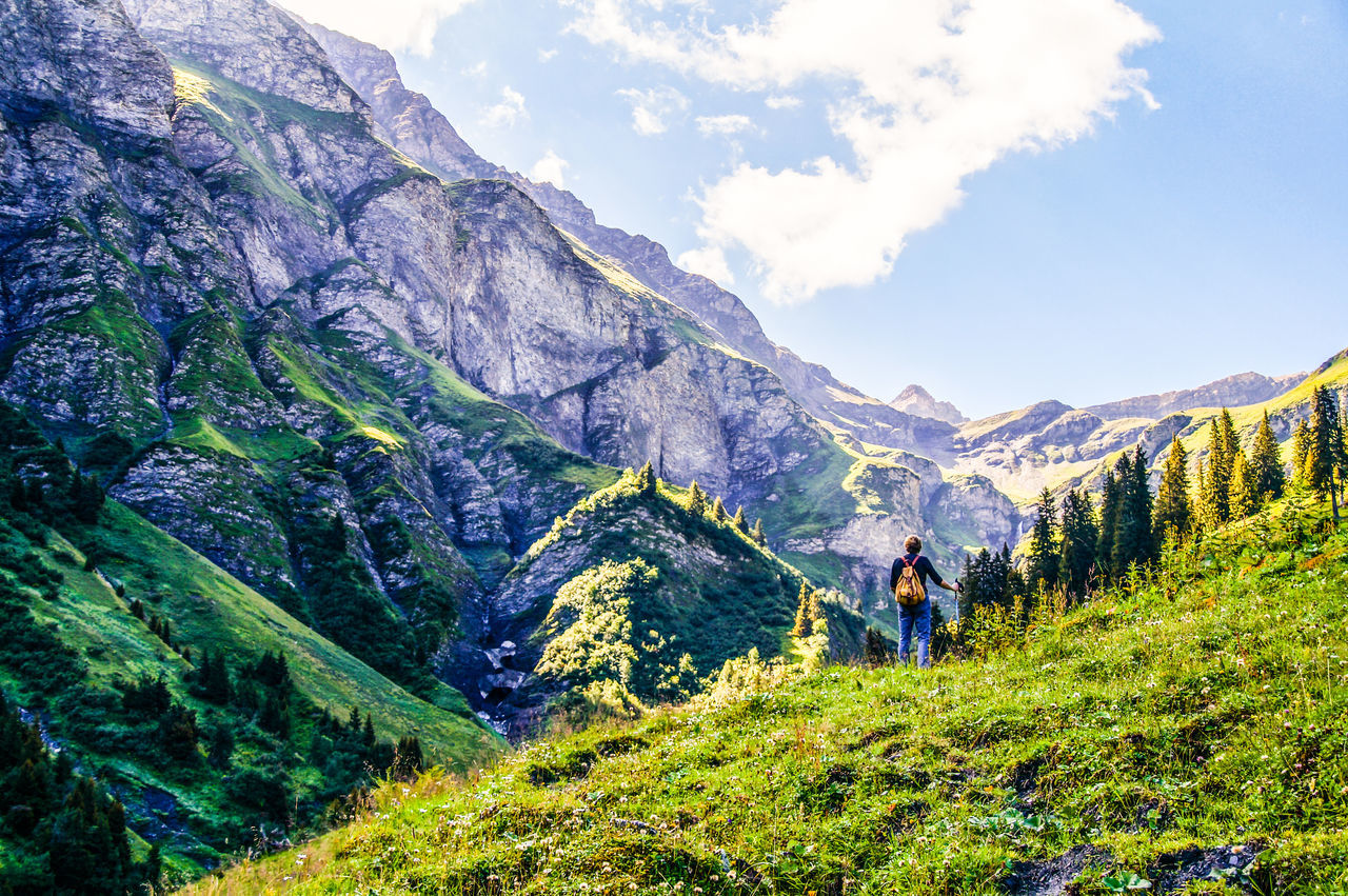 Alps Mountains Mountain View Woman In Front Of Mountain Summer Majesty Hiking Swiss Alps Hiking Trip Let's Go. Together.