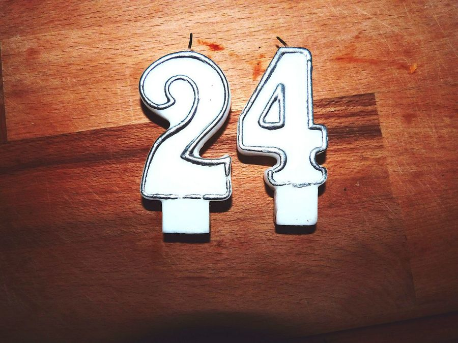Two 24th in 4 days Birthday Candle Candles Simple Wood Celebration Cake Happy Birthday! 24