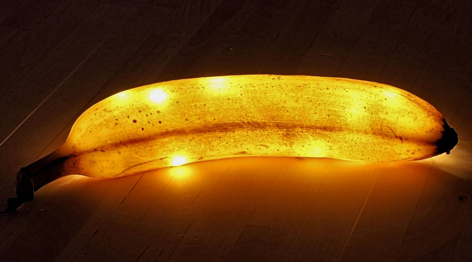 Proably a bad idea for decoration, at least after few days. Illuminated Glowing Lighting Equipment Yellow Electricity  Close-up No People Indoors  Banana Banana Peel Lights Led Lights  Freshness Bananapeel Decoration