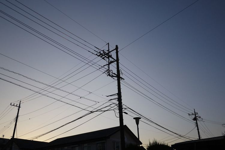 Sky Silhouette Electric Wire Sunset
