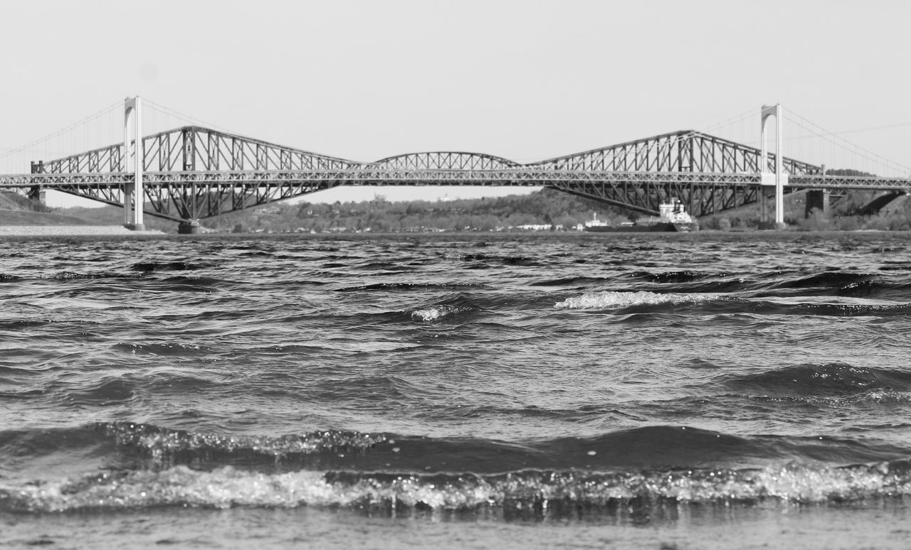 Connection Bridge - Man Made Structure Engineering Architecture Water Sea Built Structure Transportation Day Outdoors Clear Sky Suspension Bridge No People Bridge Travel Destinations Sky Nature Wave quebec