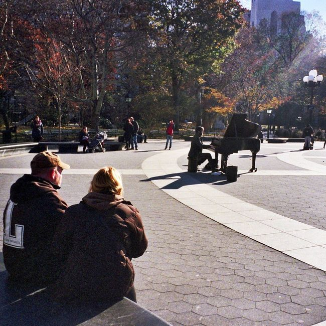 Real Film I Shoot Film NYC Photography Playing Piano At Washington Square Park Walking Around