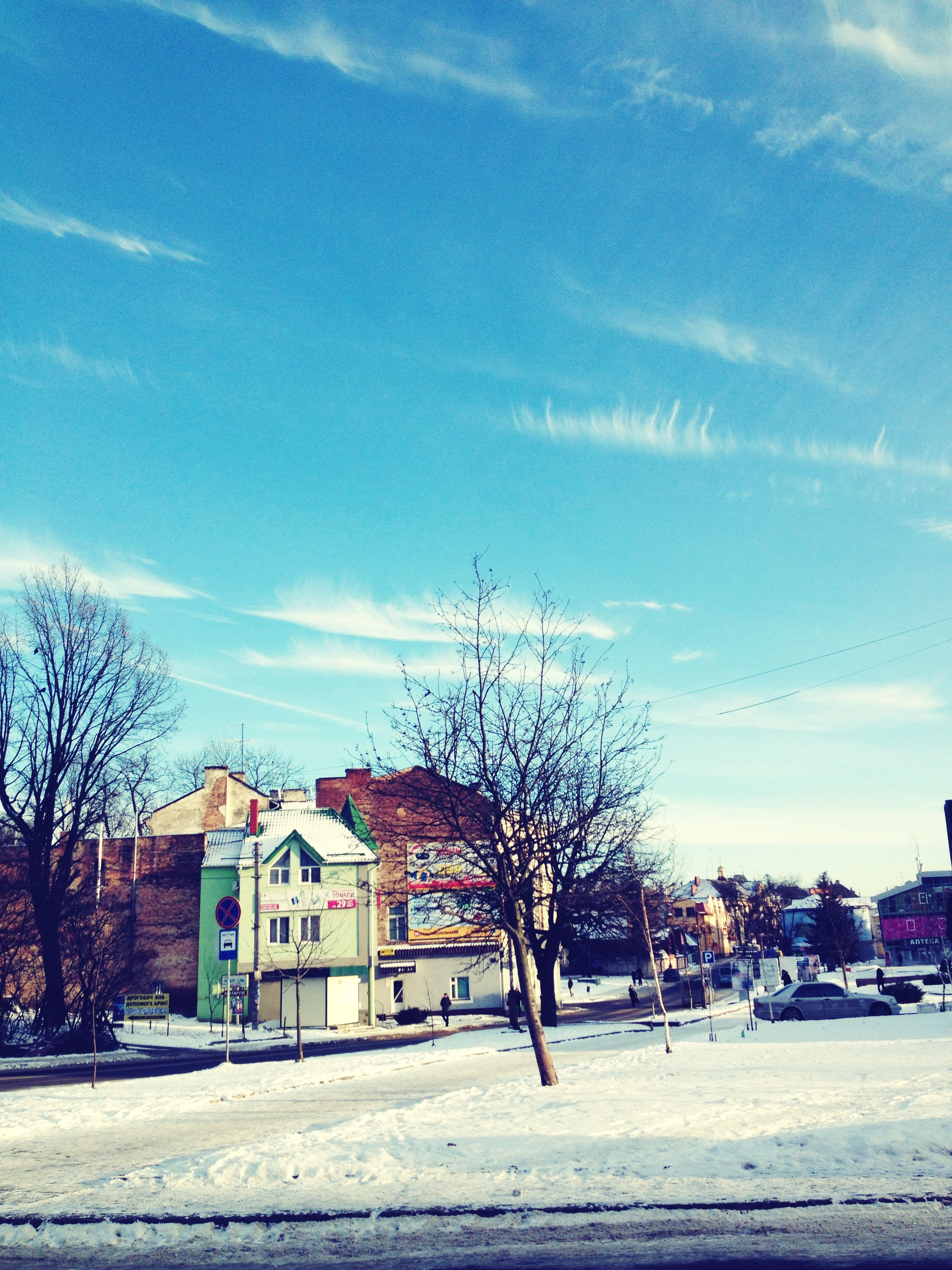 building exterior, bare tree, architecture, built structure, tree, sky, house, residential structure, snow, residential building, winter, cloud - sky, branch, street, cloud, cold temperature, car, transportation, outdoors, day