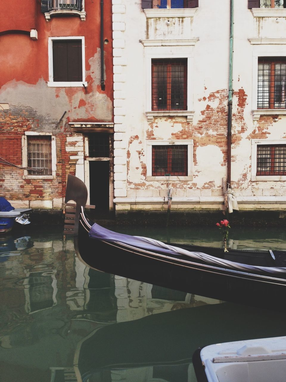 Cropped image of gondola in canal