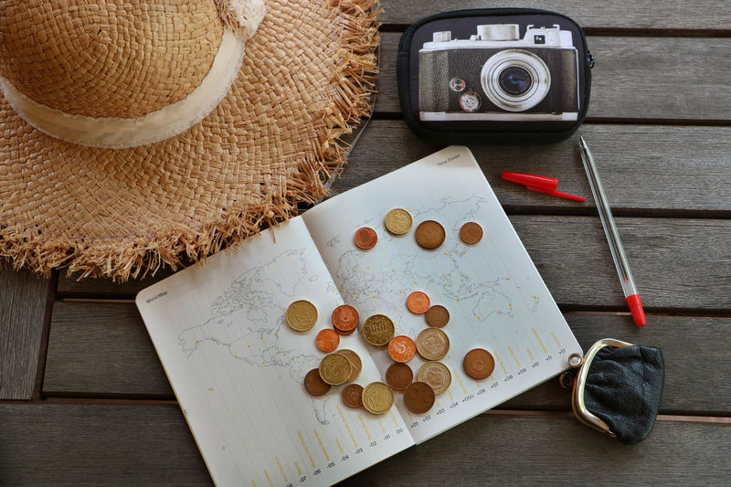 Planning travel budget Business Calendar Coin Euro Hat Holiday Map Money Planning Travel Trip Vacation Time Vacations Wood - Material путешествия