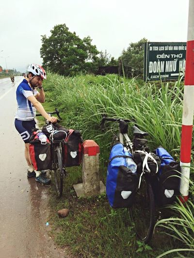 The suffering after the best part of a day riding along AH1 in the rain...the constant honking from the local drivers didn't help! Celebrate Your Ride Vietnam Cycling Pain Rain Hanoi To Singapore