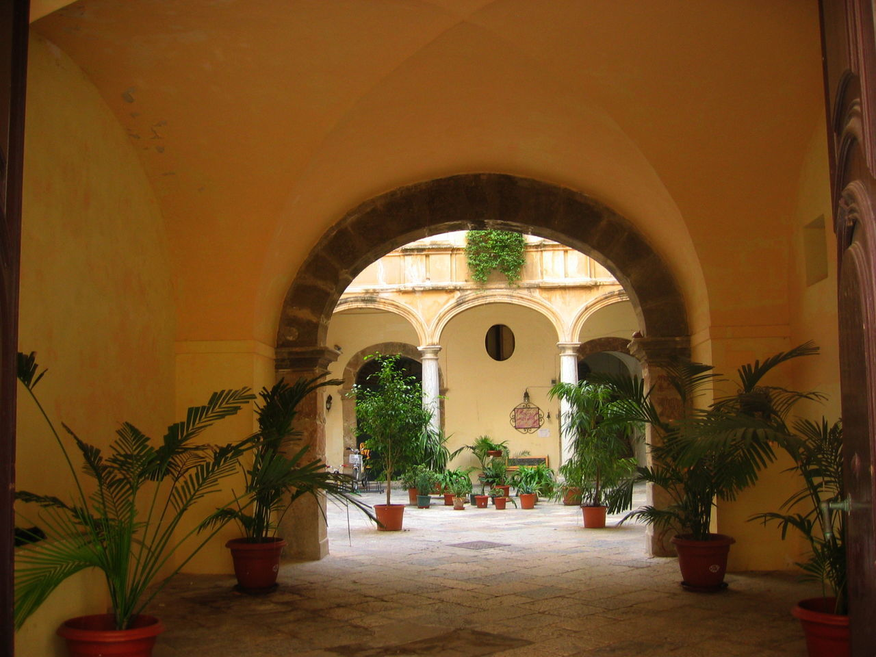 arch, the way forward, indoors, potted plant, architecture, plant, built structure, no people, day