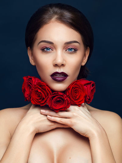 Beautiful People Beautiful Woman Beauty Charming Elégance Fashion Fashion Model Females Flower Front View Glamour Modern One Person One Woman Only One Young Woman Only Only Women People Portrait Red Retouch Retouching Retouchingservices Studio Shot Women Young Adult
