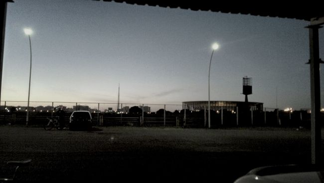 Dia de cilcismo... Estadio nacional de Brasilia ao fundo... Morning Stadium Brazil2014WorldCup World Cup Stadium