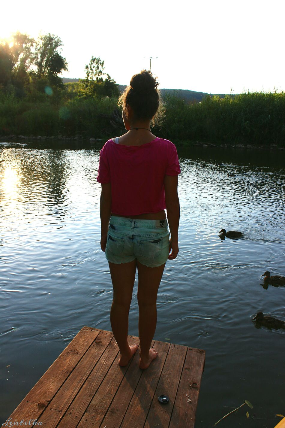 Rear View Lake Reflection One Person Water Nature Sky Tree Full Length People Outdoors Day Beauty In Nature Lentilka Summer Canonphotography Standing Standing Woman EyeEmNewHere Lieblingsteil Women Around The World Long Goodbye