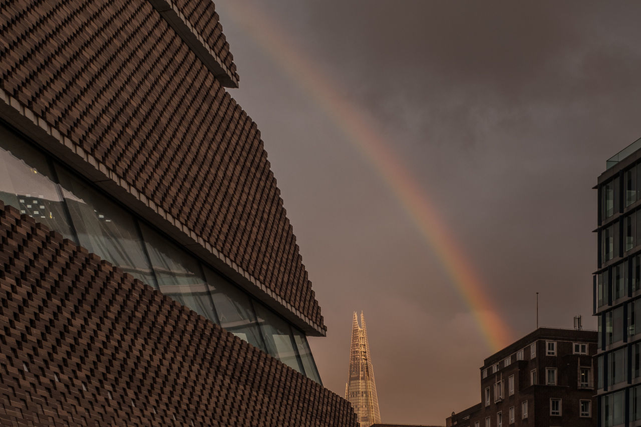 Rainbow w/Tate and Shard Architecture Architecture Building Exterior Built Structure City Low Angle View Modern Outdoors Rainbow Sky Sunset Tate TateModern Tree