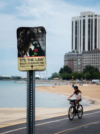 Chicago City Decay Forbidden Rules Bike Breaking The Rules Decaying Fine Lake Law Misdemeanors Park Sky Violation Water