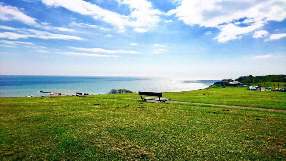 Outdoors Grass Sea Nature Water Scenics Sky Beauty In Nature Tranquil Scene Horizon Over Water Day Cloud - Sky Tranquility English Channel Landscape Eastsussex Reflections Sunshine EasterWeekend