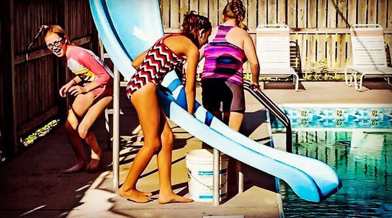 The Essence Of Summer Three Girls Laughing And Running Around Crazy My Daughter Everyday Emotion Summer Views Children Photography Girls Childhood My Sweet Kid At Home Faces Of EyeEm Making Memories! :) Love My Life  Pool Time Water Heat Sunshine Swimming Bathing Suit  Sunscreen Sillyness Goofy Fun Besties My Love ❤