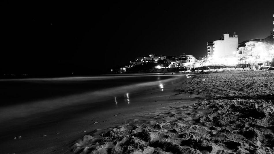Black & White Night Night Lights Nightphotography Life Is A Beach Kadınlar Denizi Kusadasi Taking Photos Long Exposure On The Beach