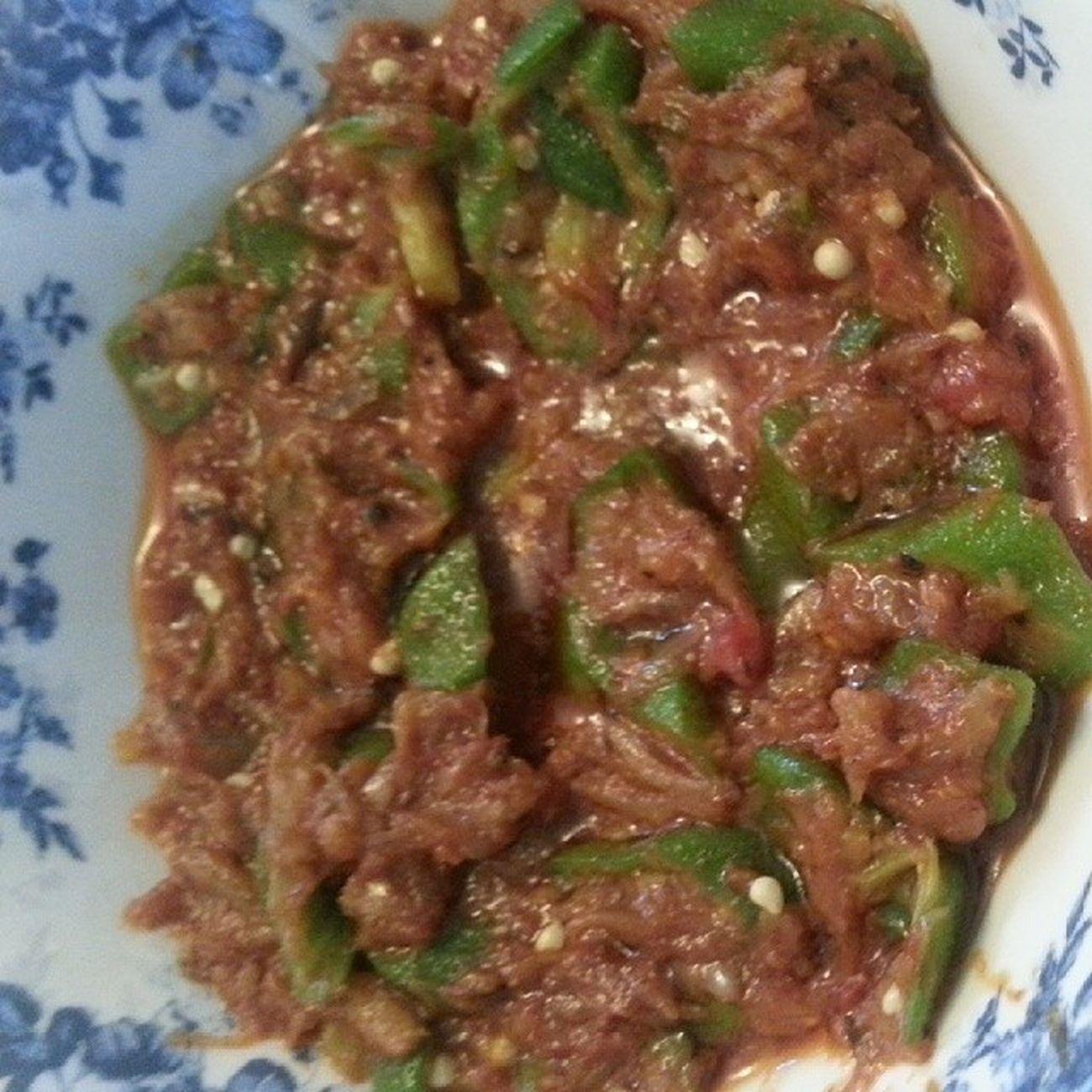 Sambalbelacan Ladyfingers cooked by @harmoneylate Foods Lunch