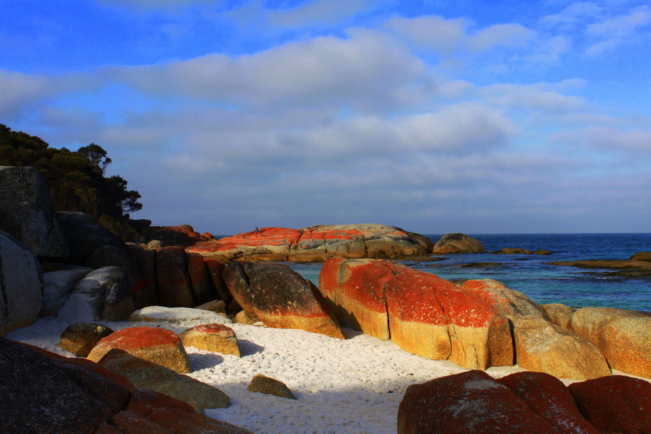 Bay Of Fires Beach Beauty In Nature Blue Water Blue Sky Cloud - Sky Cloudscape Horizon Over Water Nature No People Outdoors Red Moss Red Rocks  Rocks And Minerals Rocks And Sand Rocks And Sea Rocks In Water Rocks On The Shore Sand Scenics Sea Sky Tranquil Scene Tranquility Water