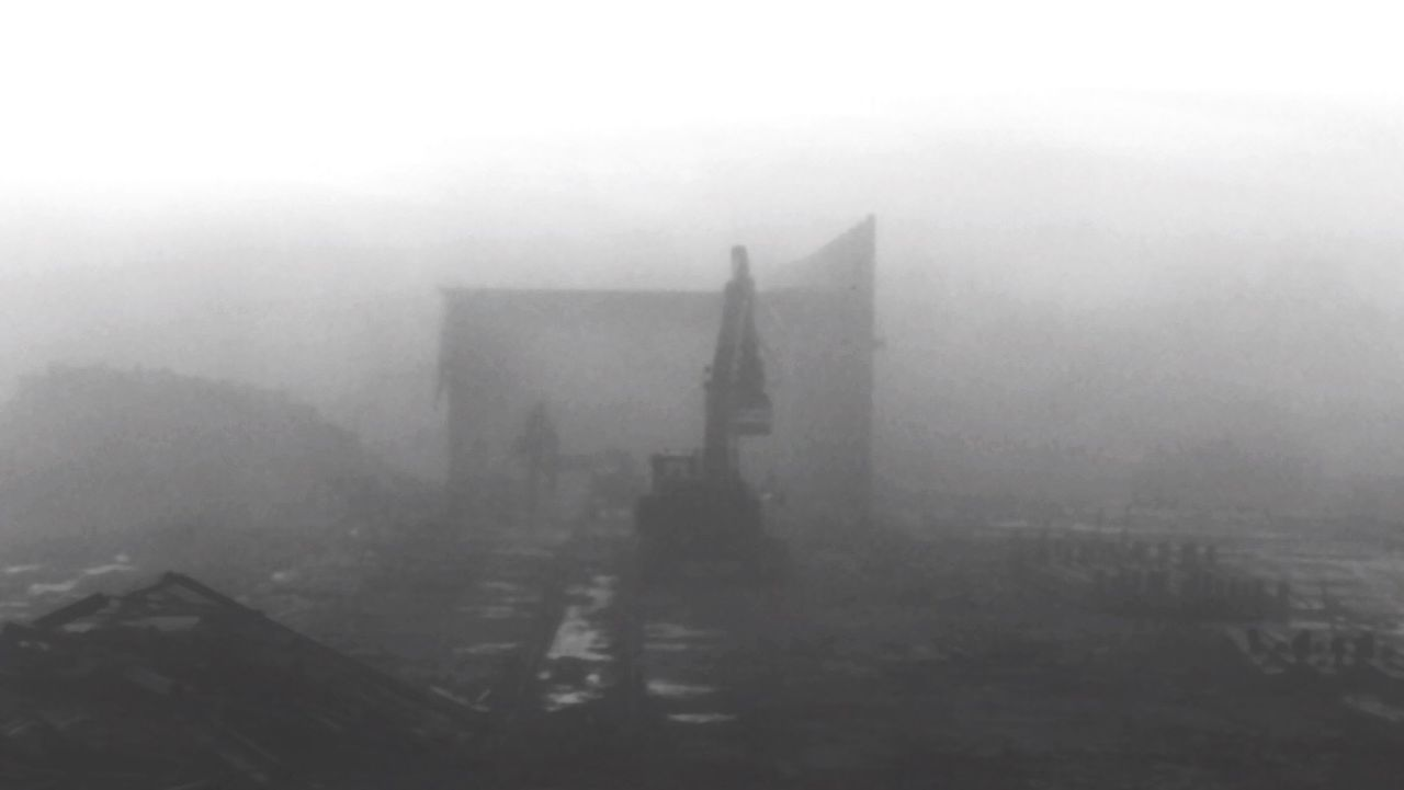 The deconstruction of a brick kiln factory on a misty morning Mist Misty Fog Foggy Teardown Breakdown Demolish Factor Stone Stones Stonework Brickkiln Brick Bricks Analoge Konica Minolta Clouds Early Morning Monochrome Monochrome Photography Machinery